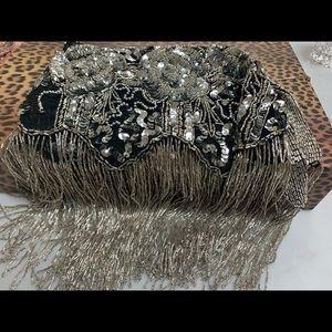 Beaded shawl collar scarf